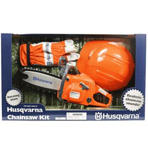 Husqvarna legetøjssav med hjelm og handsker